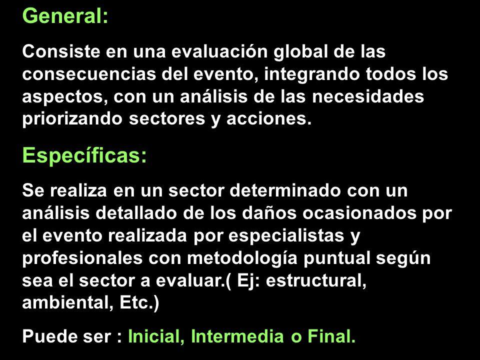 General: Consiste en una evaluación global de las consecuencias del evento, integrando todos los aspectos, con un análisis de las necesidades prioriza