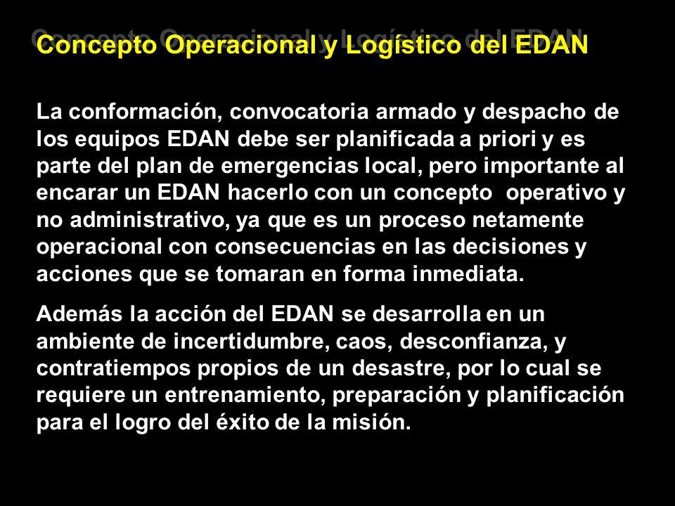 Concepto Operacional y Logístico del EDAN La conformación, convocatoria armado y despacho de los equipos EDAN debe ser planificada a priori y es parte