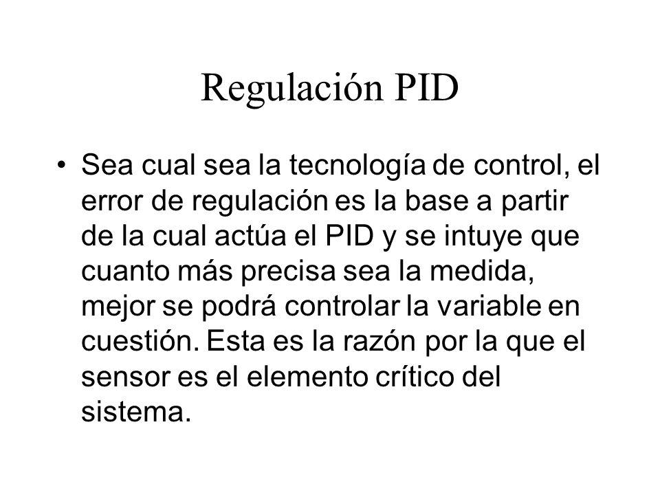 Regulación PID También se debe pensar en la instalación, especialmente en la forma en que se transmiten los datos del sensor hacia el regulador y posibles fuentes de interferencias.