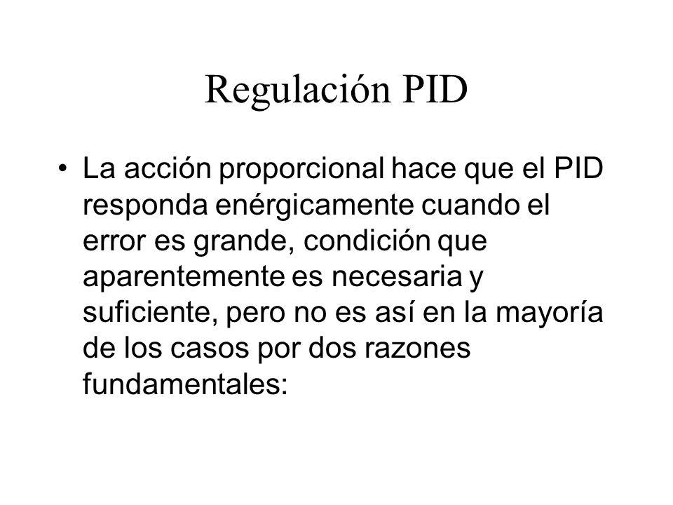 La acción proporcional hace que el PID responda enérgicamente cuando el error es grande, condición que aparentemente es necesaria y suficiente, pero no es así en la mayoría de los casos por dos razones fundamentales:
