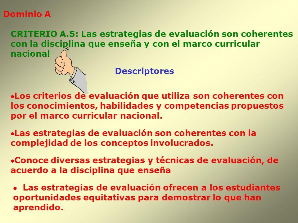 Dominio A Descriptores Los criterios de evaluación que utiliza son coherentes con los conocimientos, habilidades y competencias propuestos por el marc