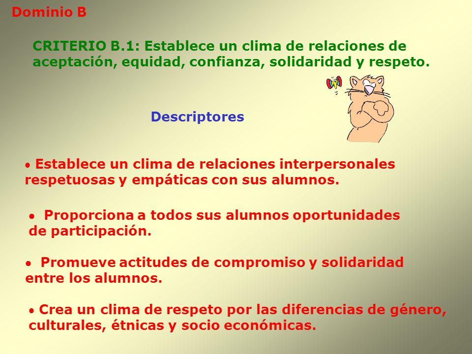 Dominio B Descriptores CRITERIO B.1: Establece un clima de relaciones de aceptación, equidad, confianza, solidaridad y respeto. Establece un clima de