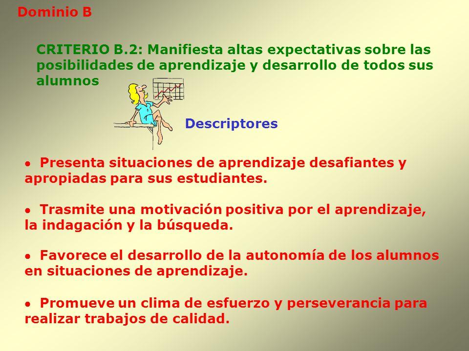 Dominio B Descriptores CRITERIO B.2: Manifiesta altas expectativas sobre las posibilidades de aprendizaje y desarrollo de todos sus alumnos Presenta s