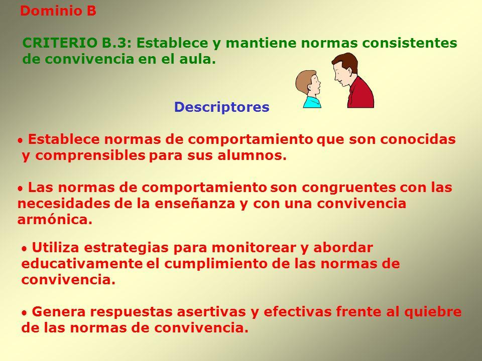 Dominio B Descriptores CRITERIO B.3: Establece y mantiene normas consistentes de convivencia en el aula. Establece normas de comportamiento que son co