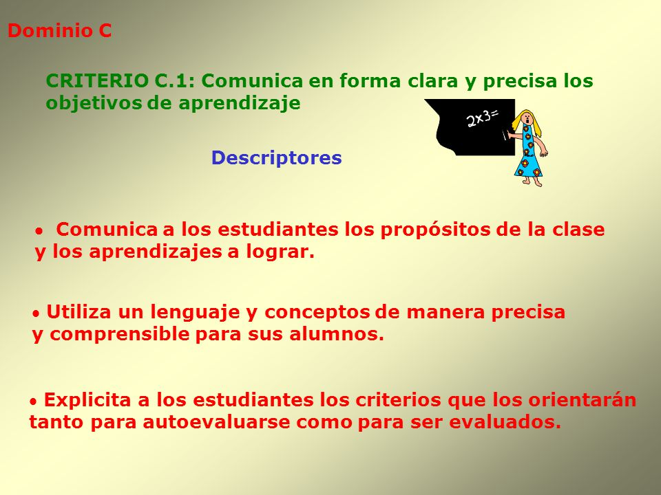 Dominio C Descriptores CRITERIO C.1: Comunica en forma clara y precisa los objetivos de aprendizaje Comunica a los estudiantes los propósitos de la cl