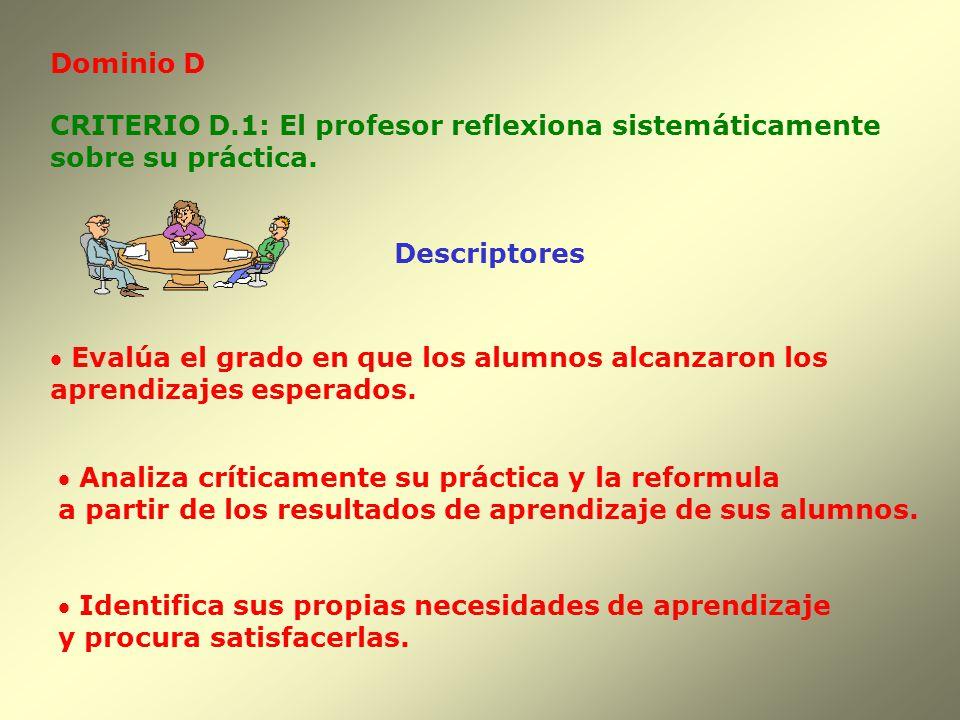 Dominio D CRITERIO D.1: El profesor reflexiona sistemáticamente sobre su práctica. Evalúa el grado en que los alumnos alcanzaron los aprendizajes espe