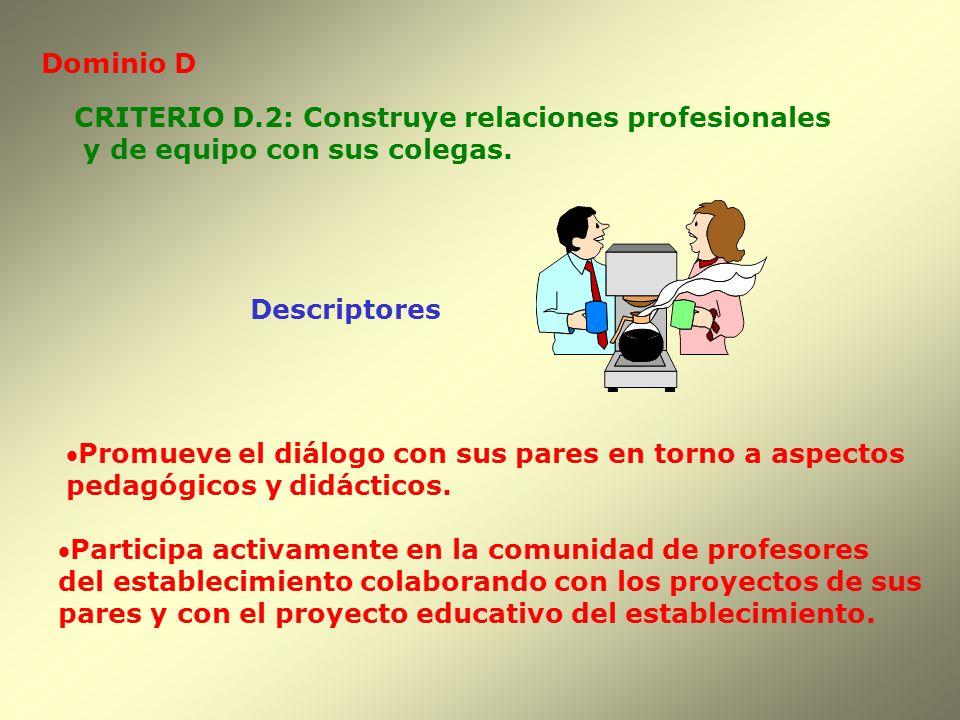 Dominio D Descriptores CRITERIO D.2: Construye relaciones profesionales y de equipo con sus colegas. Promueve el diálogo con sus pares en torno a aspe