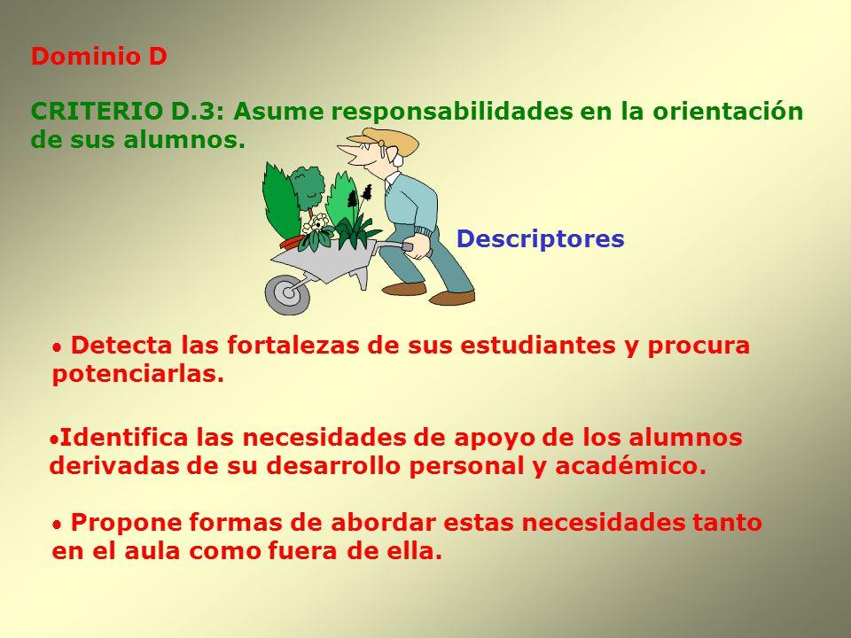 Dominio D Descriptores CRITERIO D.3: Asume responsabilidades en la orientación de sus alumnos. Detecta las fortalezas de sus estudiantes y procura pot