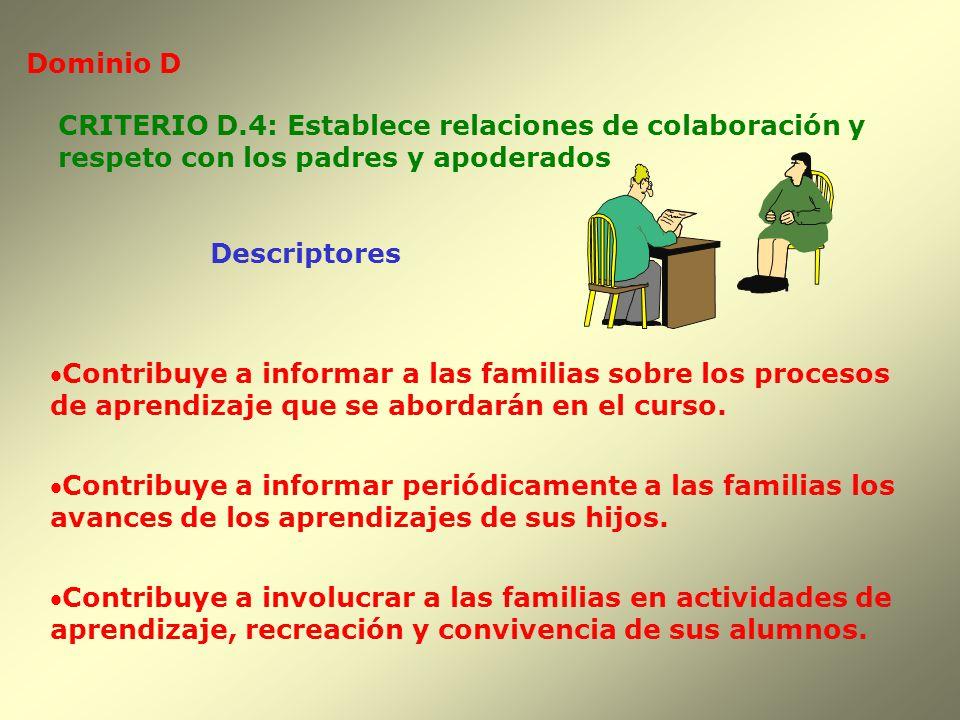 Dominio D Descriptores CRITERIO D.4: Establece relaciones de colaboración y respeto con los padres y apoderados Contribuye a informar a las familias s