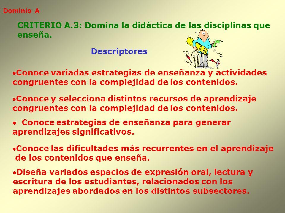 Dominio A Descriptores CRITERIO A.3: Domina la didáctica de las disciplinas que enseña. Conoce variadas estrategias de enseñanza y actividades congrue