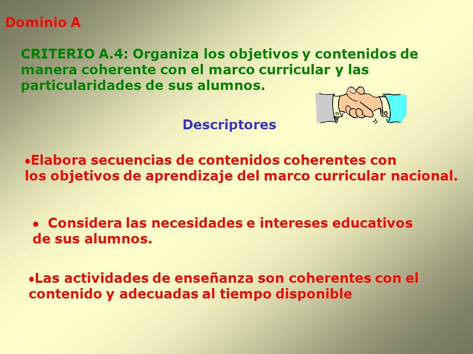 Dominio A Descriptores CRITERIO A.4: Organiza los objetivos y contenidos de manera coherente con el marco curricular y las particularidades de sus alu