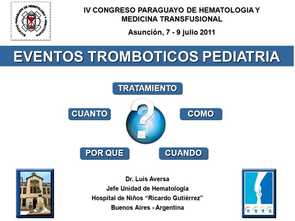 Dr. Luis Aversa Jefe Unidad de Hematología Hospital de Niños Ricardo Gutiérrez Buenos Aires - Argentina COMO POR QUE CUANDO TRATAMIENTO EVENTOS TROMBO