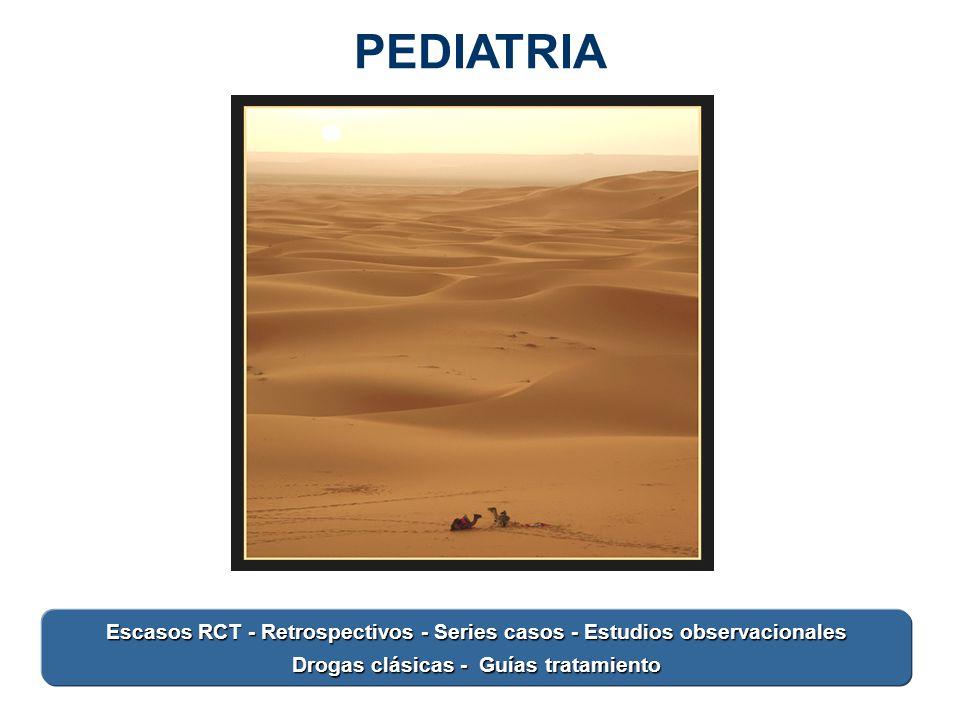 PEDIATRIA Escasos RCT - Retrospectivos - Series casos - Estudios observacionales Drogas clásicas - Guías tratamiento