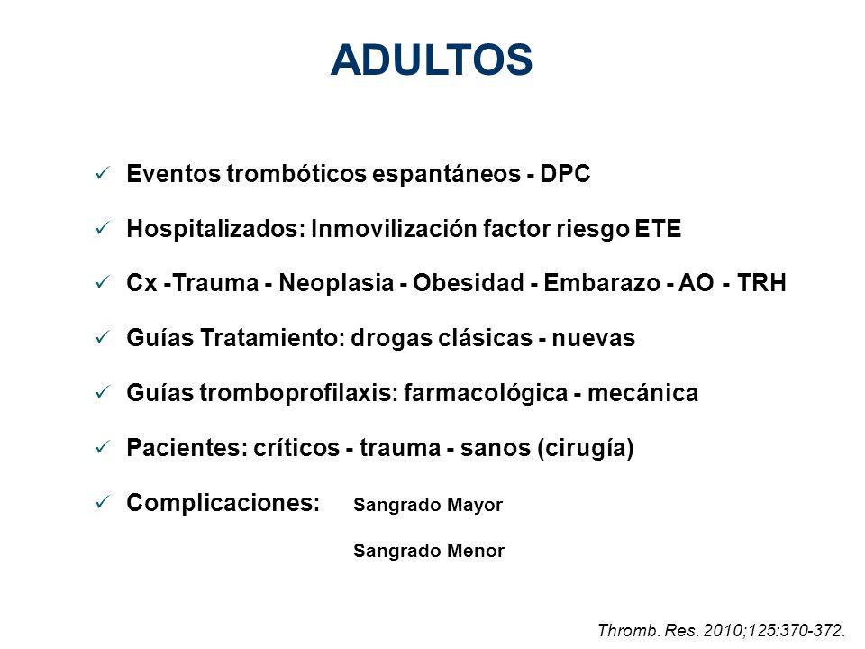 ADULTOS Eventos trombóticos espantáneos - DPC Hospitalizados: Inmovilización factor riesgo ETE Cx -Trauma - Neoplasia - Obesidad - Embarazo - AO - TRH