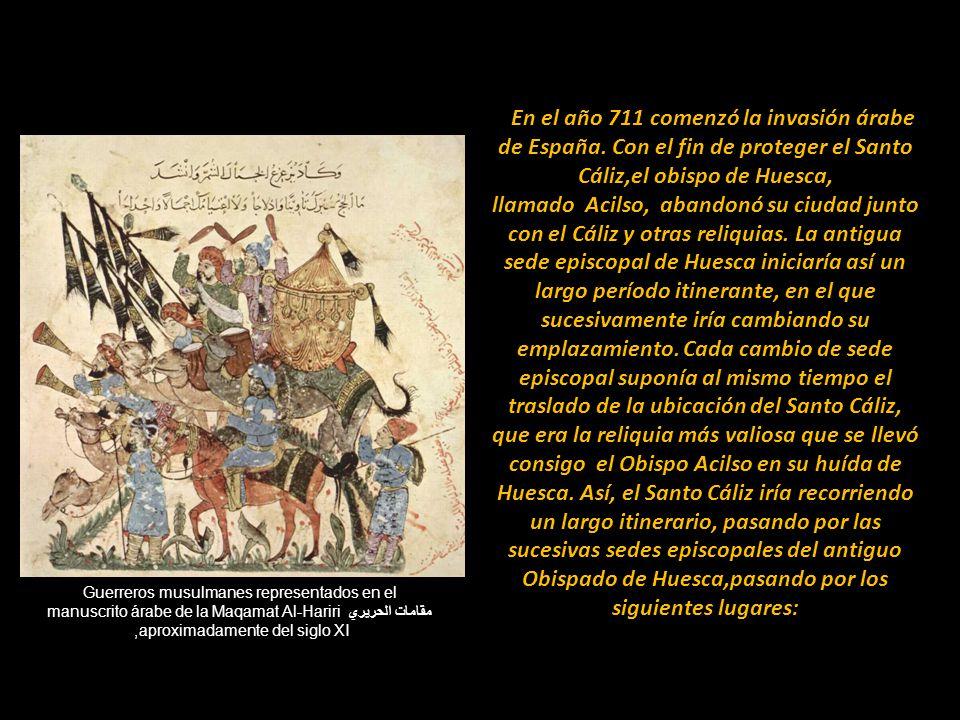 Guerreros musulmanes representados en el manuscrito árabe de la Maqamat Al-Hariri مقامات الحريري, aproximadamente del siglo XI En el año 711 comenzó la invasión árabe de España.
