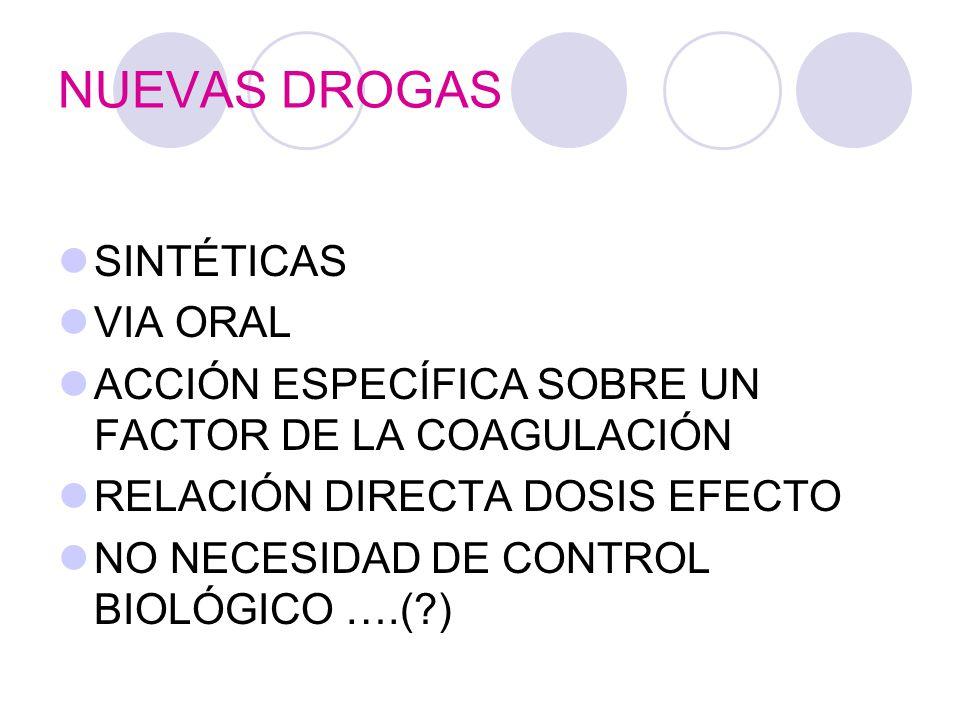 NUEVAS DROGAS SINTÉTICAS VIA ORAL ACCIÓN ESPECÍFICA SOBRE UN FACTOR DE LA COAGULACIÓN RELACIÓN DIRECTA DOSIS EFECTO NO NECESIDAD DE CONTROL BIOLÓGICO ….(?)