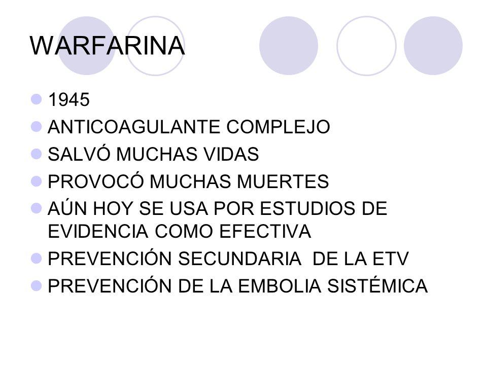 HBPM 1972 ESTUDIO DE KAKKAR SEPARACIÓN ACTIVIDAD ANTI Xa DE LA ANTI TROMBINA (IIa) 1980 DESARROLLO DE LAS DIFERENTES HBPM NUMEROSOS ESTUDIOS DE EVIDENCIA EFECTIVA SEGURA EN LA PREVENCIÓN Y EL TRATAMIENTO Lancet 1972; 2: 101-106.
