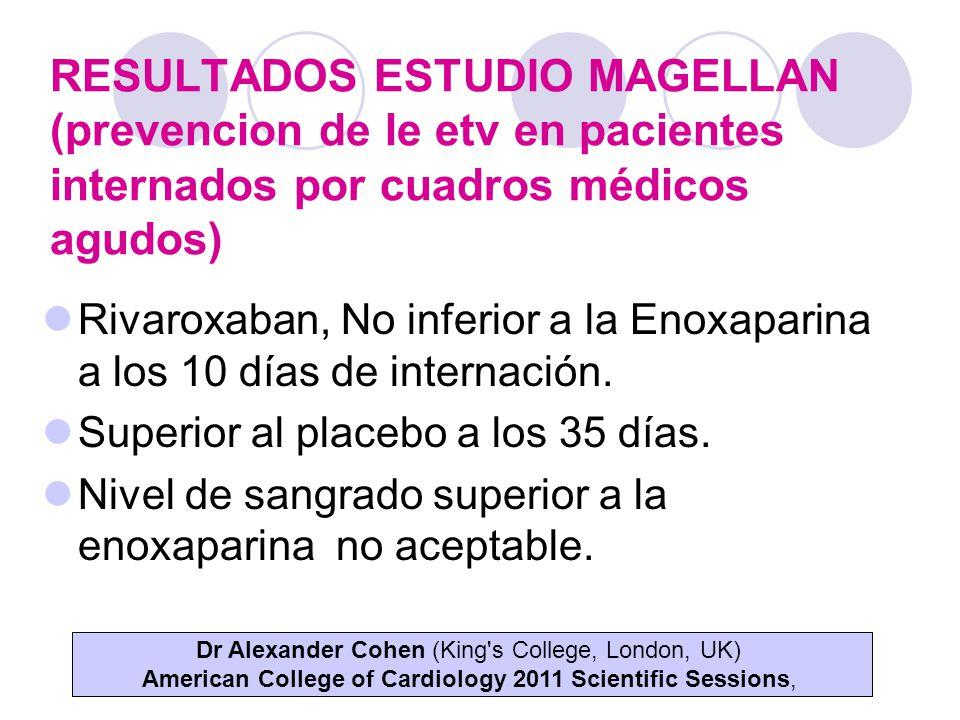 RESULTADOS ESTUDIO MAGELLAN (prevencion de le etv en pacientes internados por cuadros médicos agudos) Rivaroxaban, No inferior a la Enoxaparina a los 10 días de internación.