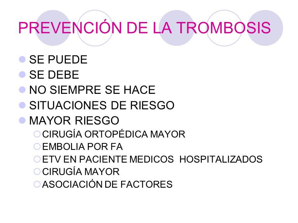 PREVENCIÓN DE LA TROMBOSIS SE PUEDE SE DEBE NO SIEMPRE SE HACE SITUACIONES DE RIESGO MAYOR RIESGO CIRUGÍA ORTOPÉDICA MAYOR EMBOLIA POR FA ETV EN PACIENTE MEDICOS HOSPITALIZADOS CIRUGÍA MAYOR ASOCIACIÓN DE FACTORES