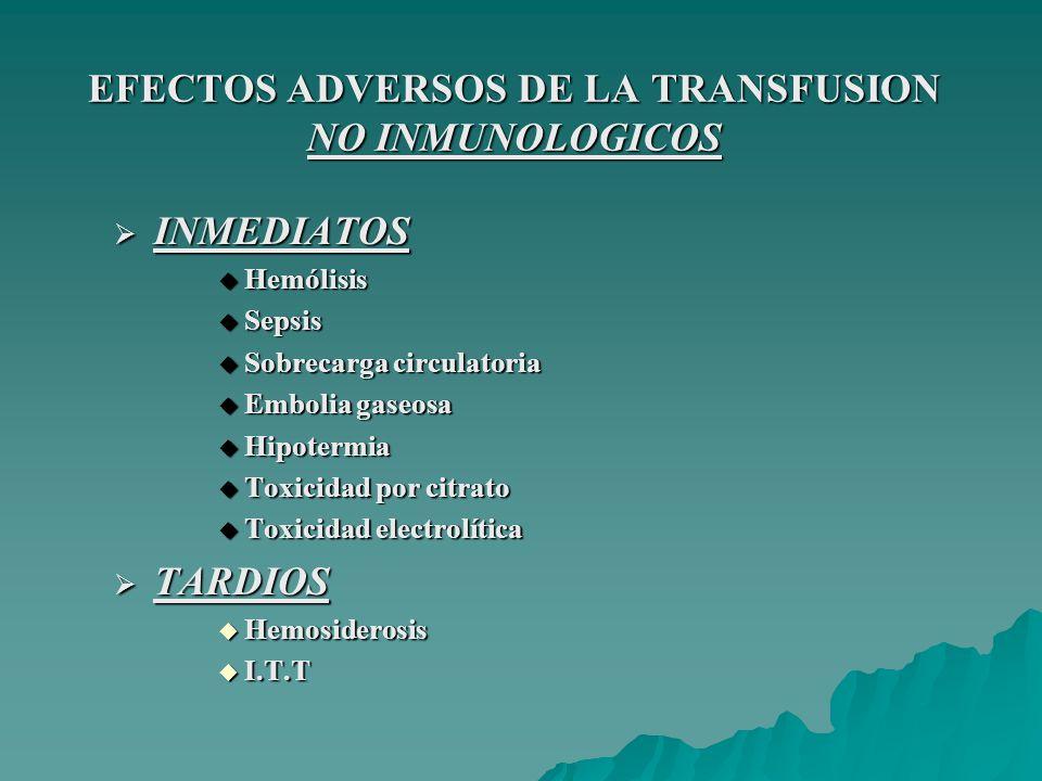 EFECTOS ADVERSOS DE LA TRANSFUSION INMUNOLOGICOS INMEDIATOS INMEDIATOS Reacción hemolítica Reacción hemolítica Reacción febril no hemolítica Reacción febril no hemolítica Edema pulmonar no cardiogénico (TRALI) Edema pulmonar no cardiogénico (TRALI) Reacción alérgica Reacción alérgica Reacción anafiláctica Reacción anafiláctica TARDIOS TARDIOS Reacción hemolítica Reacción hemolítica Púrpura postransfransfusional Púrpura postransfransfusional Aloinmunización Aloinmunización Enfermedad injerto-vs-huésped Enfermedad injerto-vs-huésped Inmunosupresión Inmunosupresión