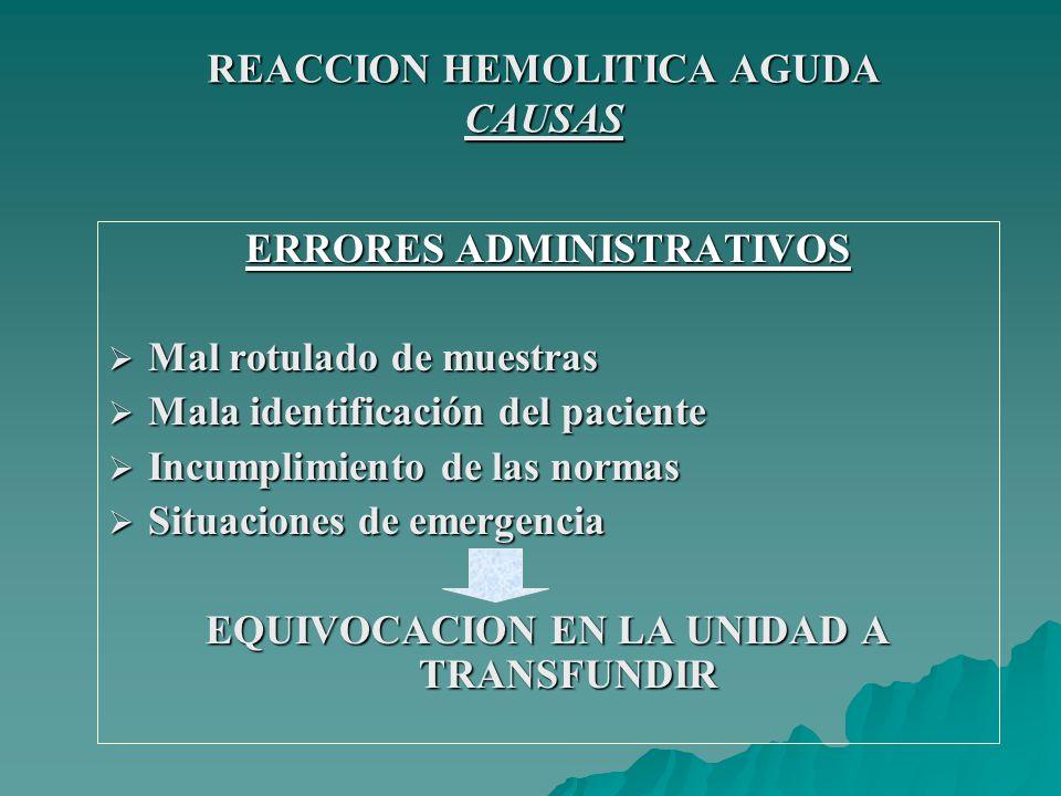 REACCION FEBRIL NO HEMOLITICA FISIOPATOLOGIA CONCENTRADO ERITROCITARIO Acs.