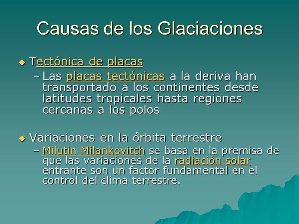 Causas de los Glaciaciones Tectónica de placas Tectónica de placasectónica de placasectónica de placas –Las placas tectónicas a la deriva han transpor