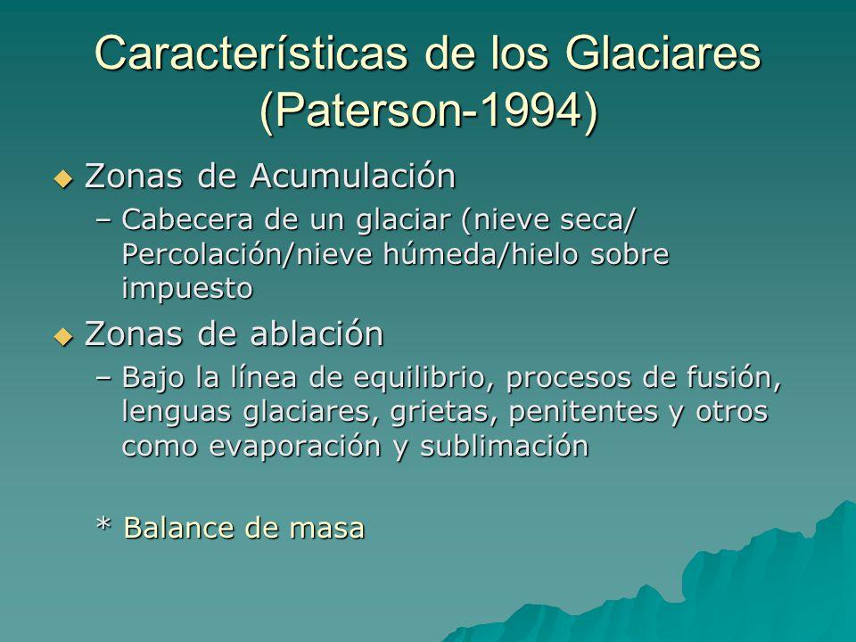 Características de los Glaciares (Paterson-1994) Zonas de Acumulación Zonas de Acumulación –Cabecera de un glaciar (nieve seca/ Percolación/nieve húme