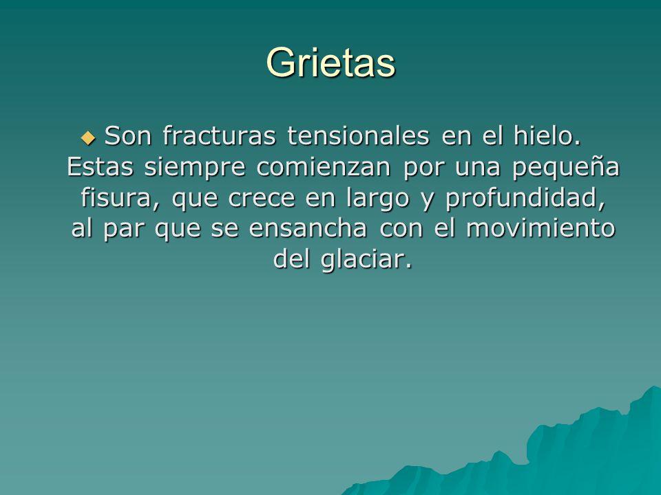Grietas Son fracturas tensionales en el hielo.