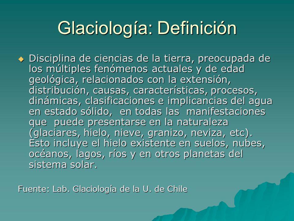 Glaciar: Definición Una de las definiciones más aceptadas es de LLIBOUTRY (1956:115), quién define Glaciar, como toda masa de hielo perenne, formada por acumulación de nieve, cualquiera sean sus dimensiones y formas .