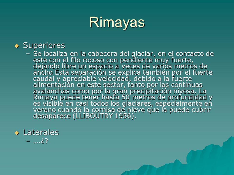Rimayas Superiores Superiores –Se localiza en la cabecera del glaciar, en el contacto de este con el filo rocoso con pendiente muy fuerte, dejando lib