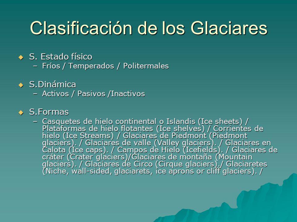 Clasificación de los Glaciares S. Estado físico S. Estado físico –Fríos / Temperados / Politermales S.Dinámica S.Dinámica –Activos / Pasivos /Inactivo