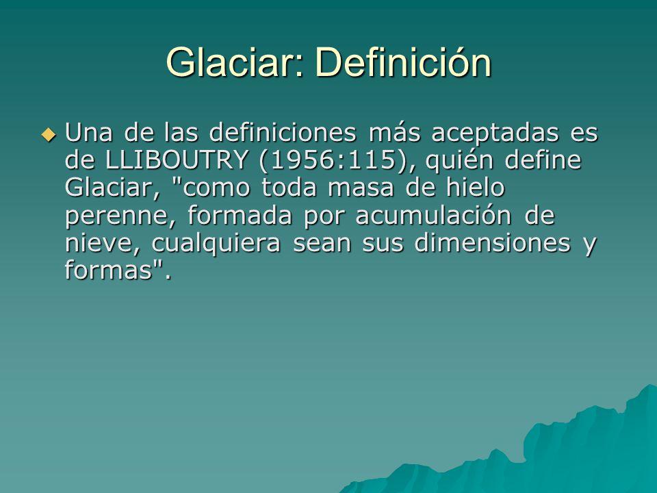 Glaciar: Definición Una de las definiciones más aceptadas es de LLIBOUTRY (1956:115), quién define Glaciar,