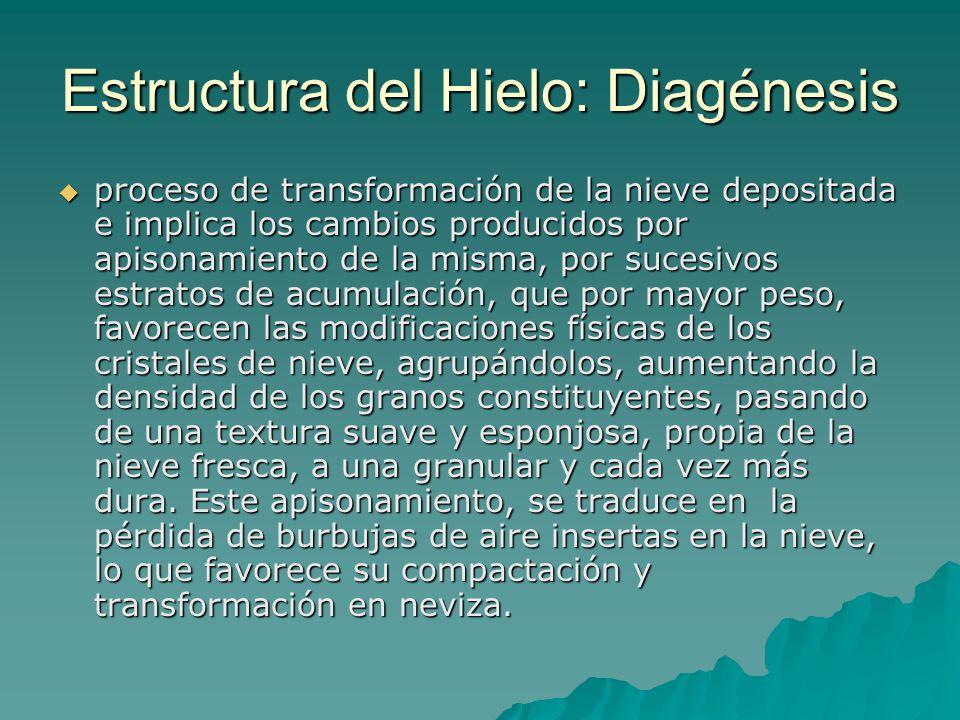 Estructura del Hielo: Diagénesis proceso de transformación de la nieve depositada e implica los cambios producidos por apisonamiento de la misma, por