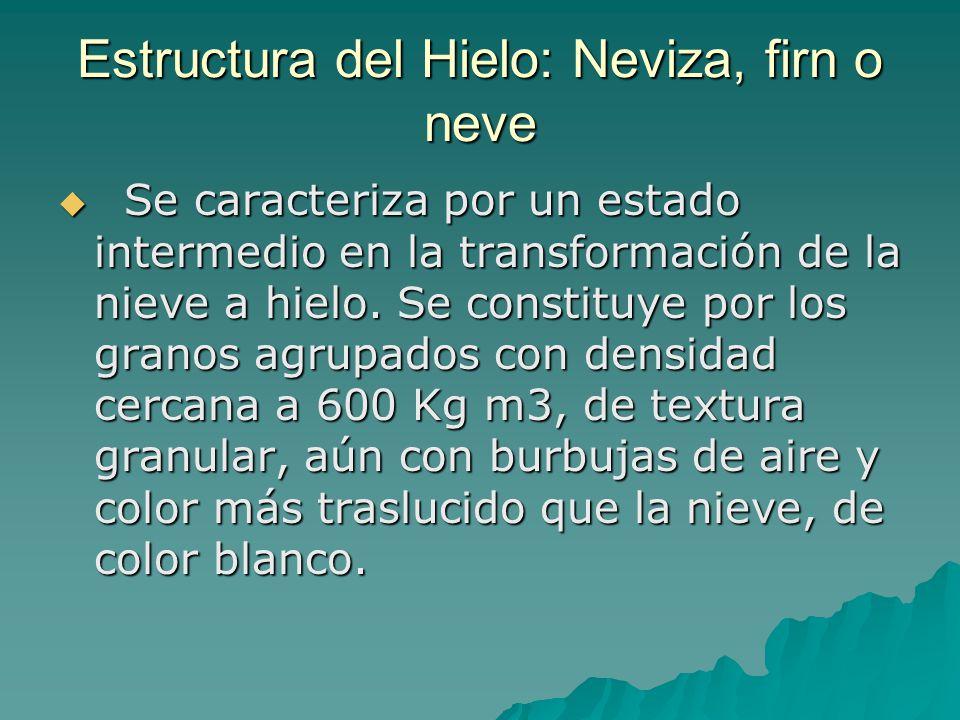 Estructura del Hielo: Neviza, firn o neve Se caracteriza por un estado intermedio en la transformación de la nieve a hielo.