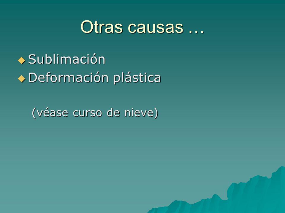 Otras causas … Sublimación Sublimación Deformación plástica Deformación plástica (véase curso de nieve)