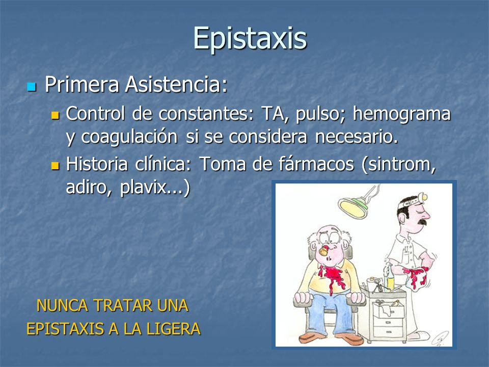 Epistaxis Epistaxis Primera Asistencia: Primera Asistencia: Control de constantes: TA, pulso; hemograma y coagulación si se considera necesario. Contr