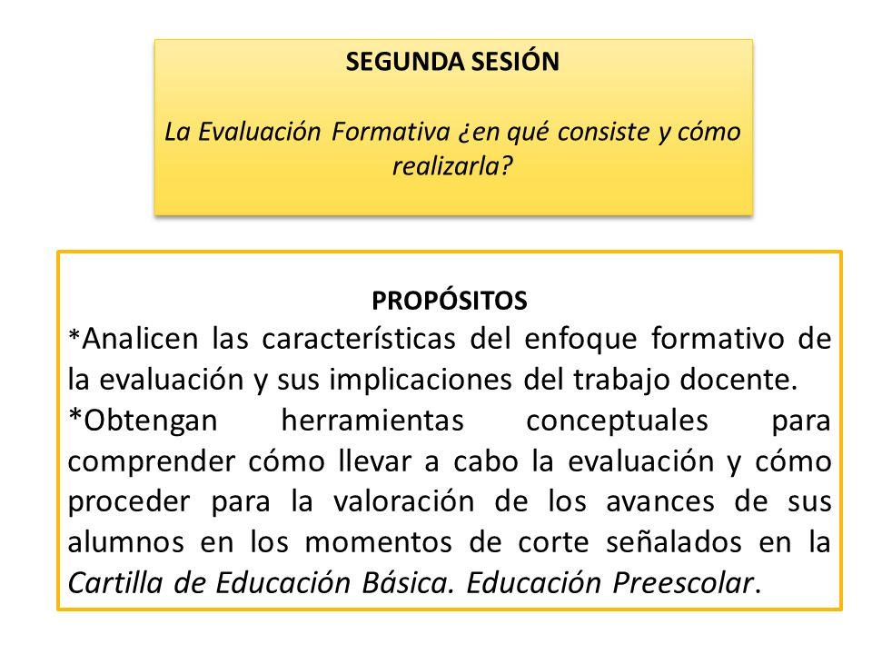 PROPÓSITOS * Analicen las características del enfoque formativo de la evaluación y sus implicaciones del trabajo docente. *Obtengan herramientas conce