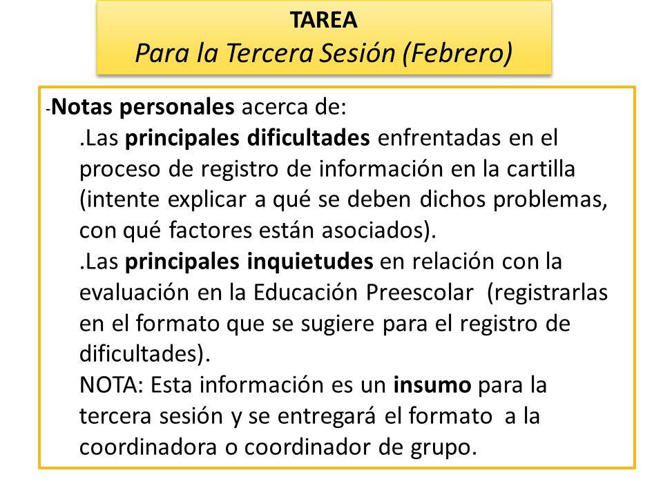 - Notas personales acerca de:.Las principales dificultades enfrentadas en el proceso de registro de información en la cartilla (intente explicar a qué
