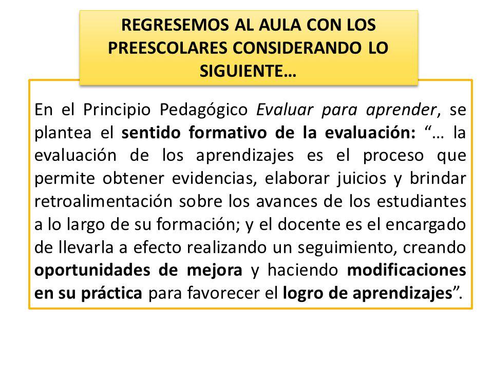 En el Principio Pedagógico Evaluar para aprender, se plantea el sentido formativo de la evaluación: … la evaluación de los aprendizajes es el proceso