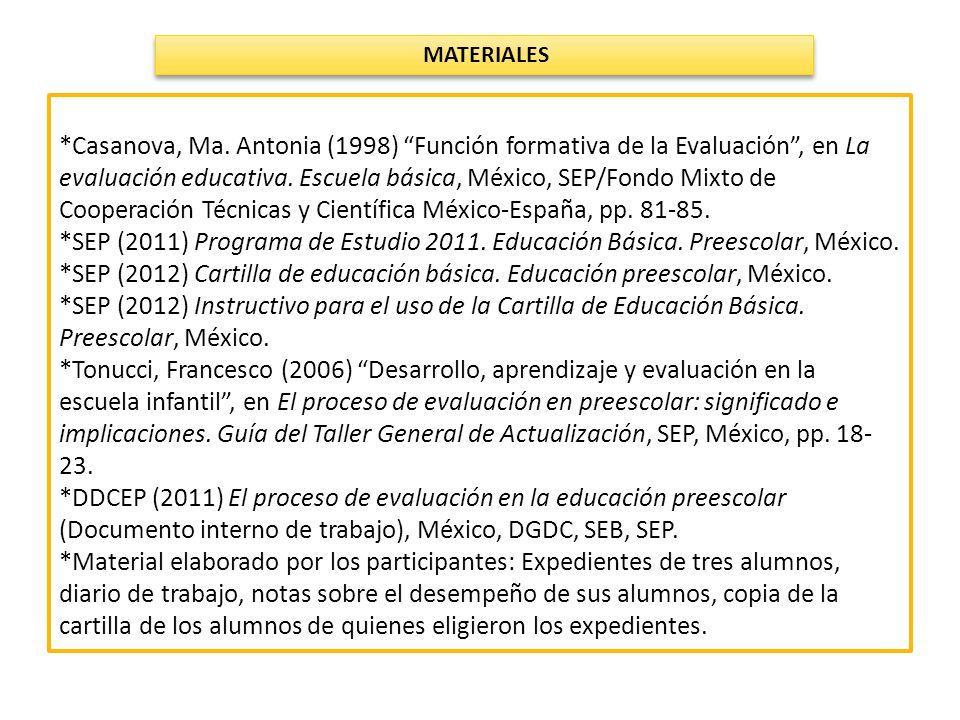 *Casanova, Ma. Antonia (1998) Función formativa de la Evaluación, en La evaluación educativa. Escuela básica, México, SEP/Fondo Mixto de Cooperación T