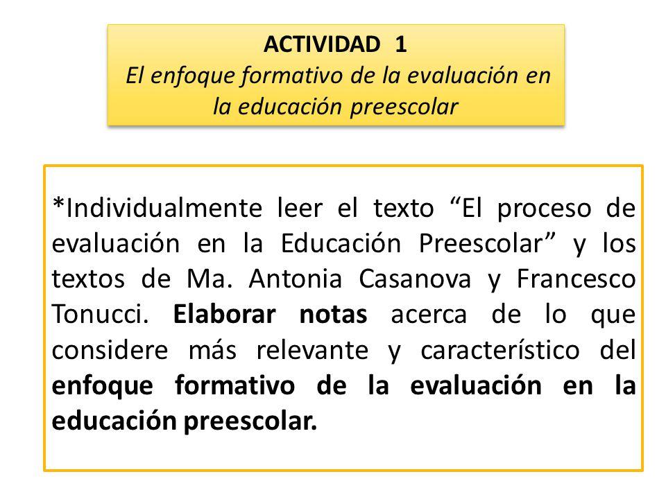 *Individualmente leer el texto El proceso de evaluación en la Educación Preescolar y los textos de Ma. Antonia Casanova y Francesco Tonucci. Elaborar