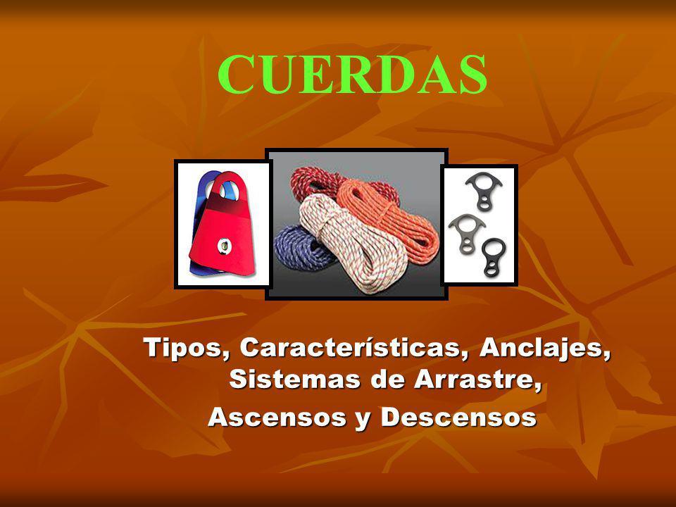 CUERDAS Tipos, Características, Anclajes, Sistemas de Arrastre, Tipos, Características, Anclajes, Sistemas de Arrastre, Ascensos y Descensos