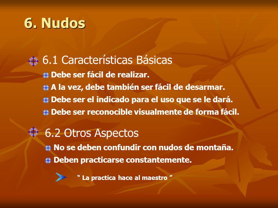 6.Nudos La practica hace al maestro 6.1 Características Básicas Debe ser fácil de realizar.