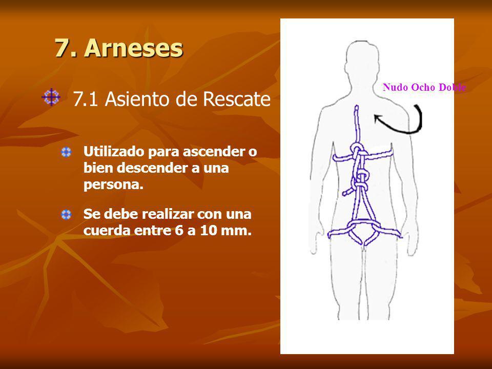 7. Arneses 7.1 Asiento de Rescate Nudo Ocho Doble Utilizado para ascender o bien descender a una persona. Se debe realizar con una cuerda entre 6 a 10