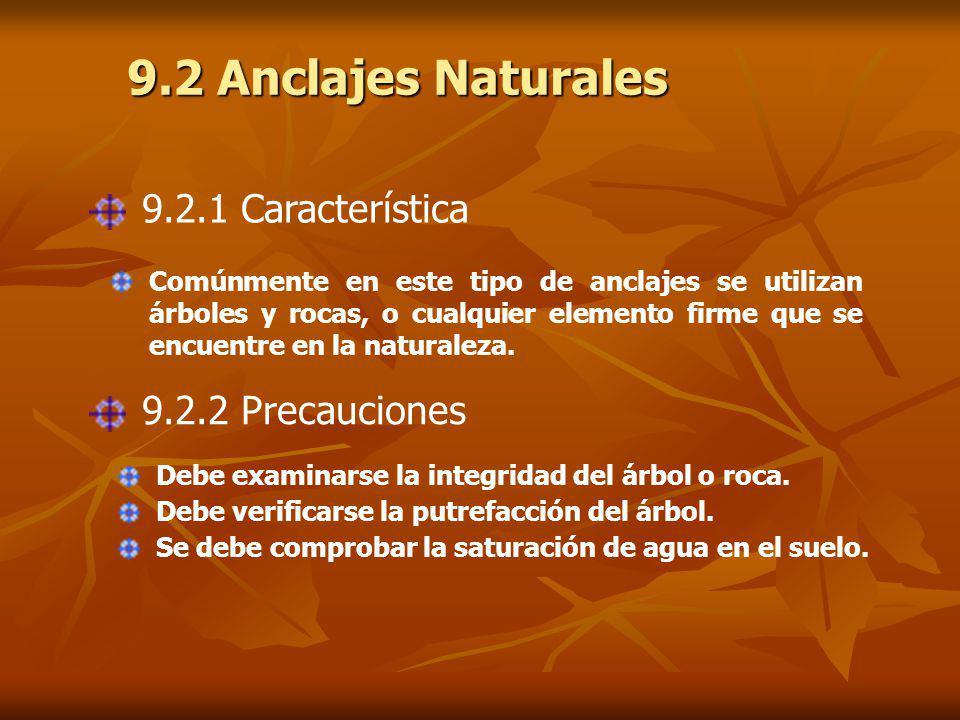 9.2 Anclajes Naturales 9.2.1 Característica Comúnmente en este tipo de anclajes se utilizan árboles y rocas, o cualquier elemento firme que se encuentre en la naturaleza.