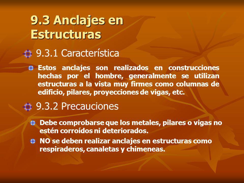 9.3 Anclajes en Estructuras 9.3.1 Característica Estos anclajes son realizados en construcciones hechas por el hombre, generalmente se utilizan estructuras a la vista muy firmes como columnas de edificio, pilares, proyecciones de vigas, etc.