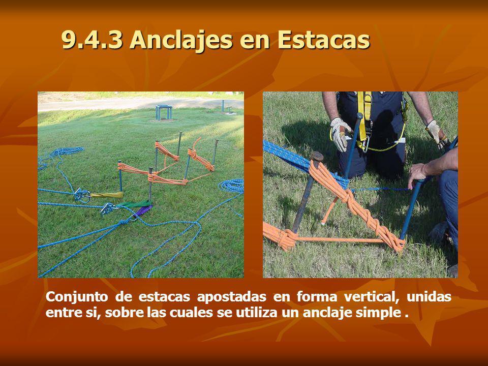 Dibujo Foto 9.4.3 Anclajes en Estacas Conjunto de estacas apostadas en forma vertical, unidas entre si, sobre las cuales se utiliza un anclaje simple.