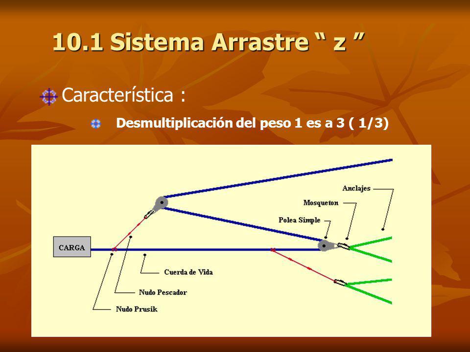 10.1 Sistema Arrastre z 10.1 Sistema Arrastre z Característica : Desmultiplicación del peso 1 es a 3 ( 1/3)