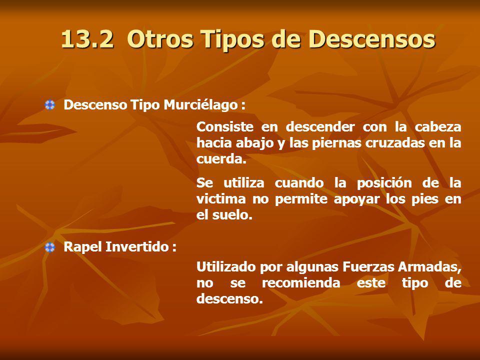 13.2 Otros Tipos de Descensos Descenso Tipo Murciélago : Consiste en descender con la cabeza hacia abajo y las piernas cruzadas en la cuerda.