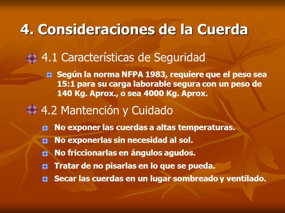 4.1 Características de Seguridad Según la norma NFPA 1983, requiere que el peso sea 15:1 para su carga laborable segura con un peso de 140 Kg.